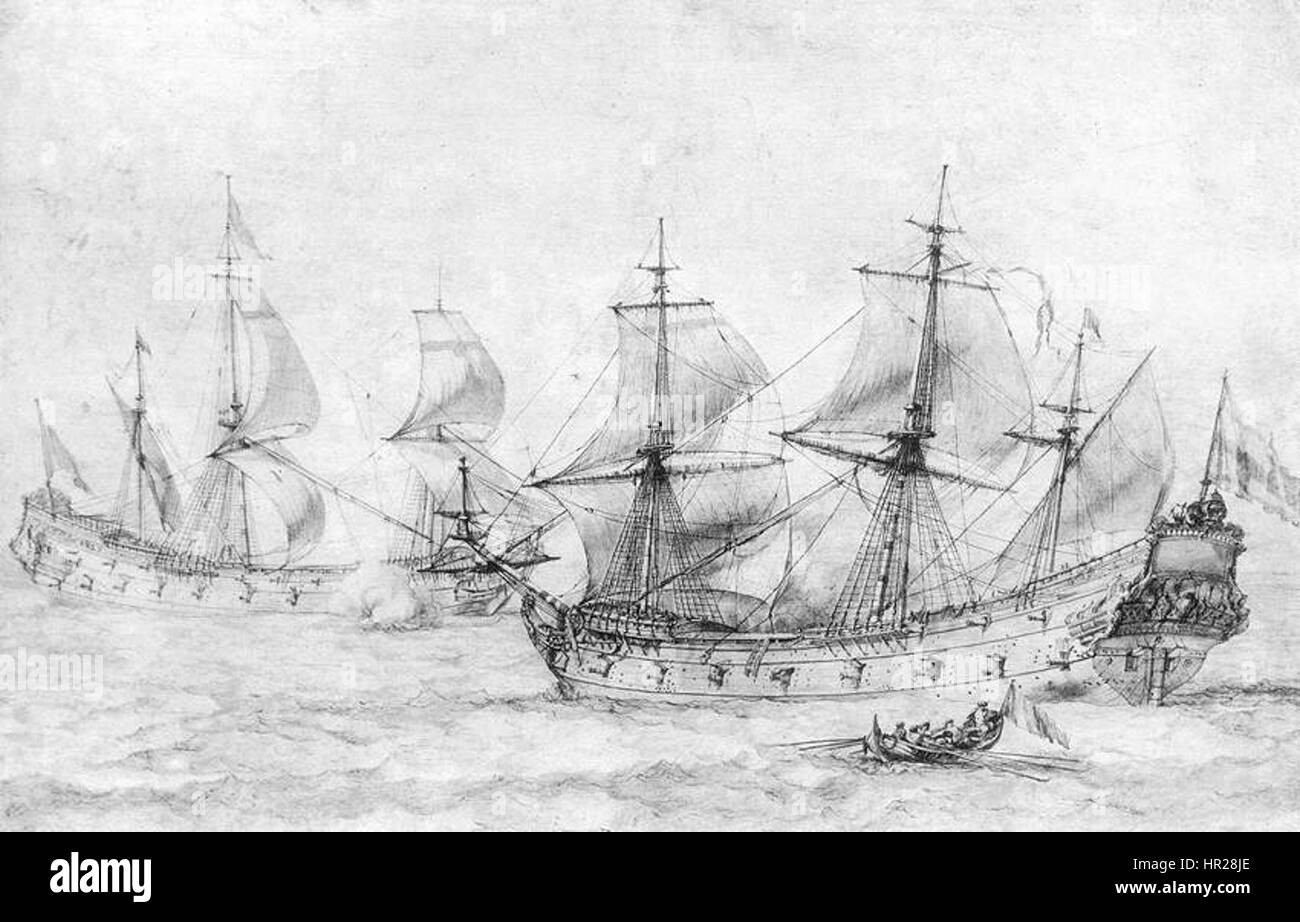Pierre Puget - Two Vessels under Sail - WGA18477 - Stock Image