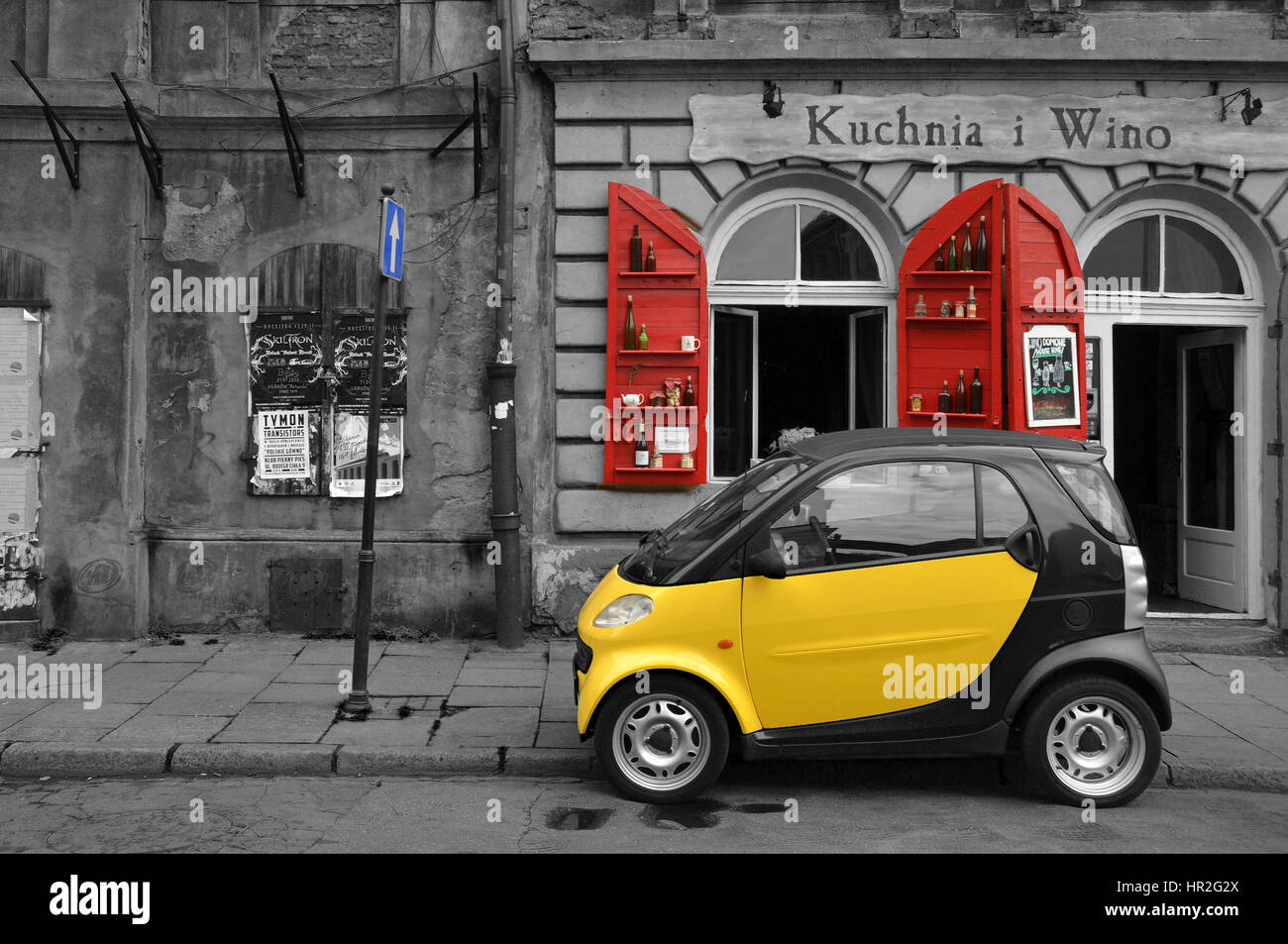 A Smart car before a shop in Krakow, southern Poland Stock Photo