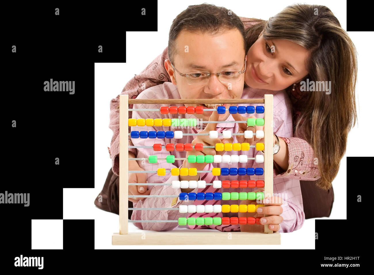 couple of business accountants playing with an abacus - Stock Image