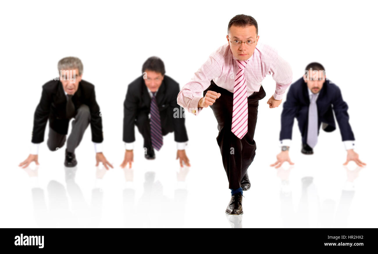 business man ahead of the competition - isolated over a white background - Stock Image