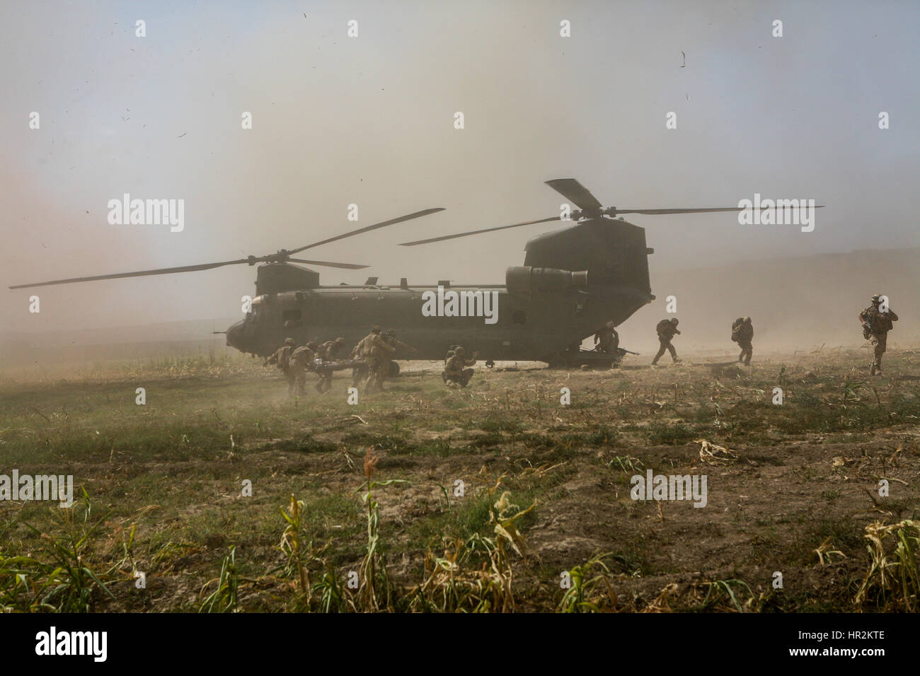 Briitsh soldier wounded in action carried on to chinook to be evecuated from Sangin to a hopital at camp bastion. - Stock Image