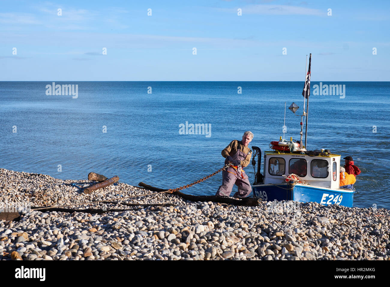 Pulling on a hauling chain to attach to a fishing boat before pulling it up the beach at Beer, Devon. U.K. - Stock Image