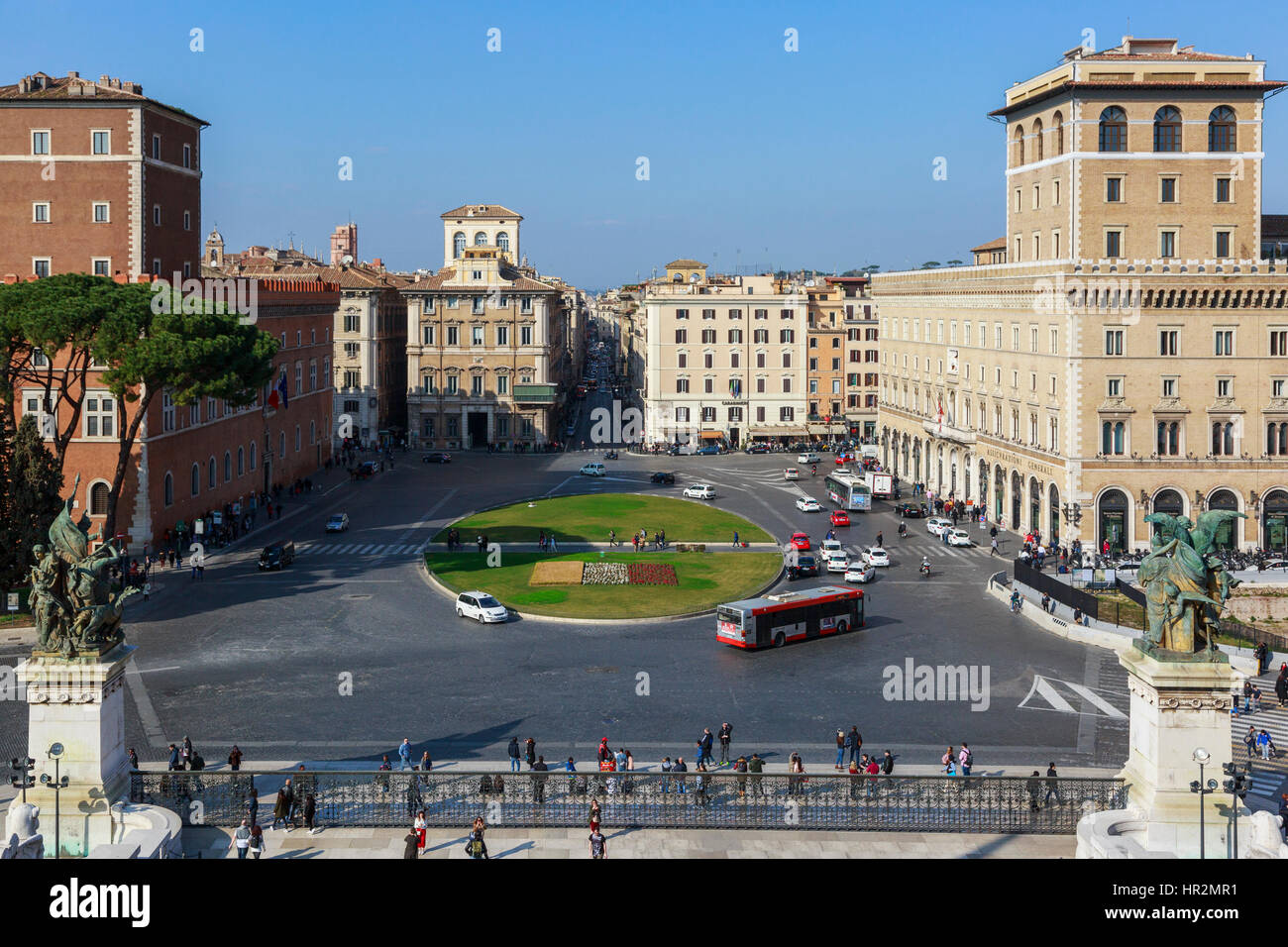 View of Piazza Venezia, towards Via del Corso, from the Monument to Vittorio Emanuele, Rome, Italy - Stock Image