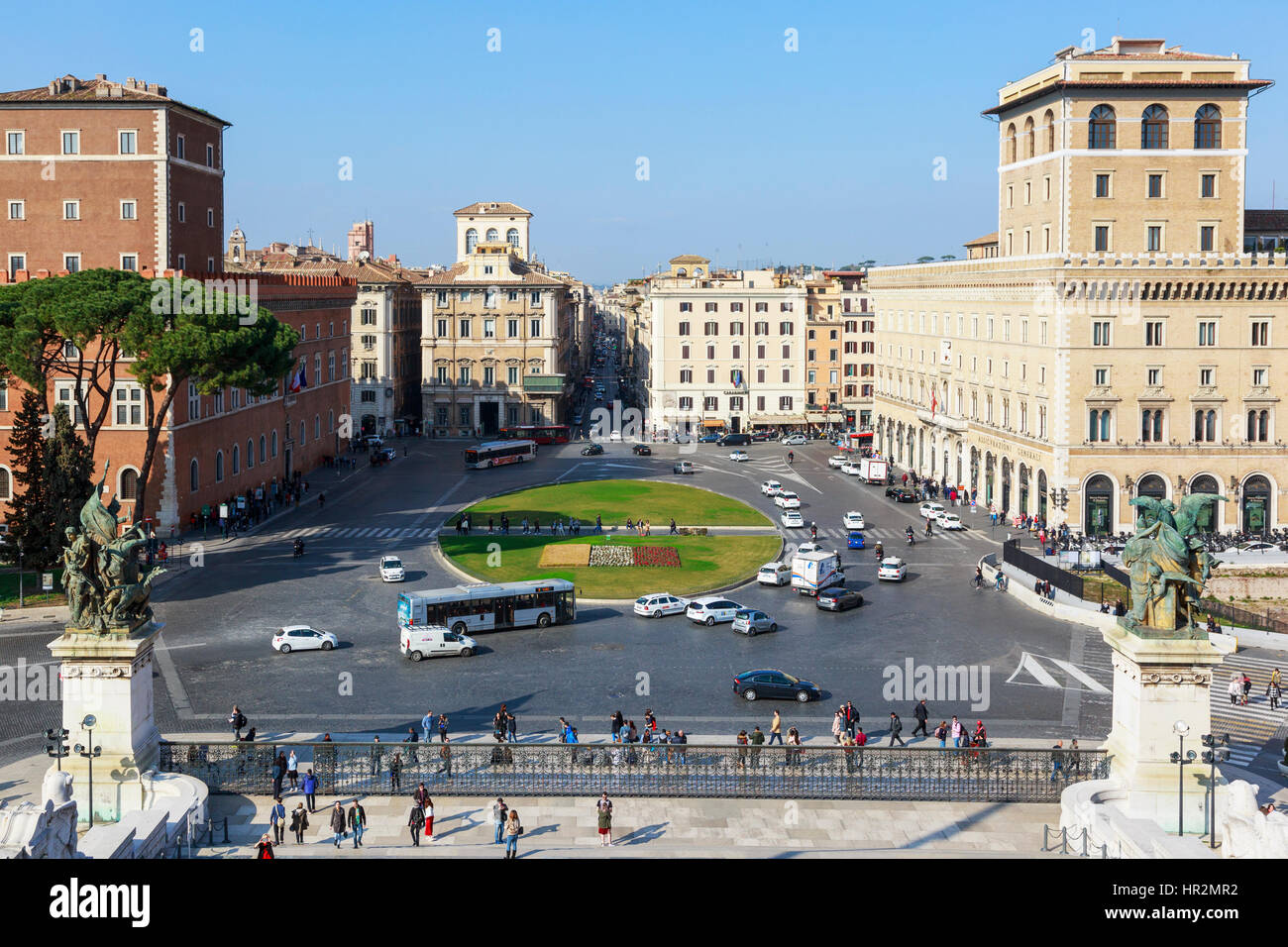 View of Piazza Venezia, towards Via del Corso, from the Monument to Vittorio Emanuele, Rome, Italy Stock Photo