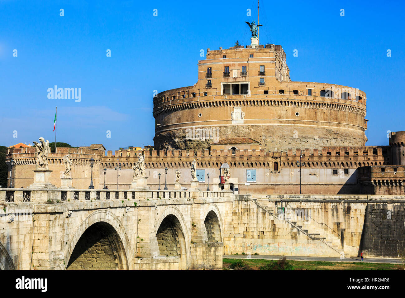 Castel Sant Angelo, with the bridge Pont Sant Angelo across the River Tiber in Parco Adriano district, Rome, Italy - Stock Image