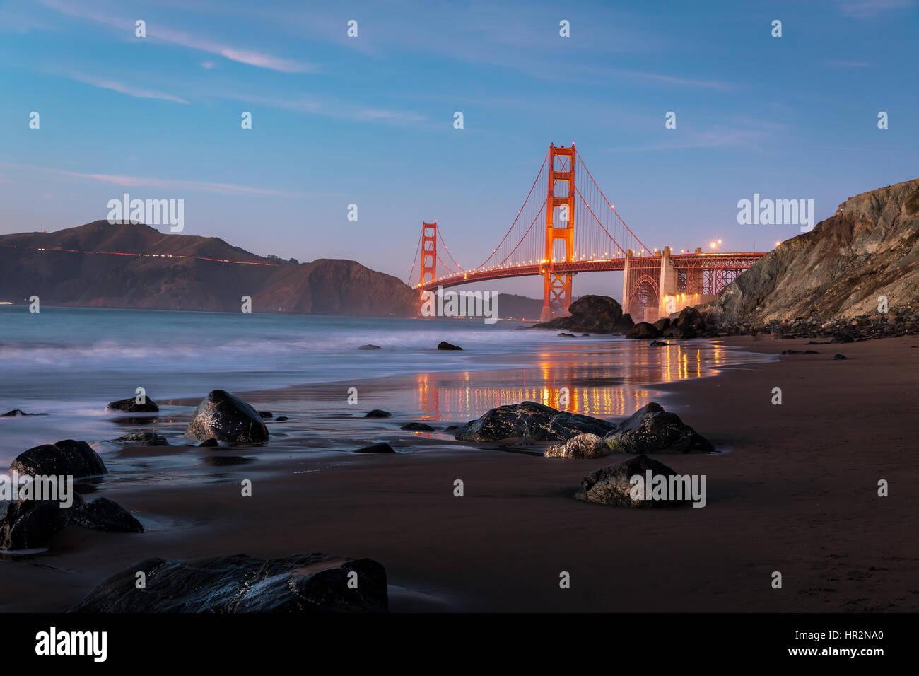 Golden Gate Bridge from Marshall's Beach - Stock Image