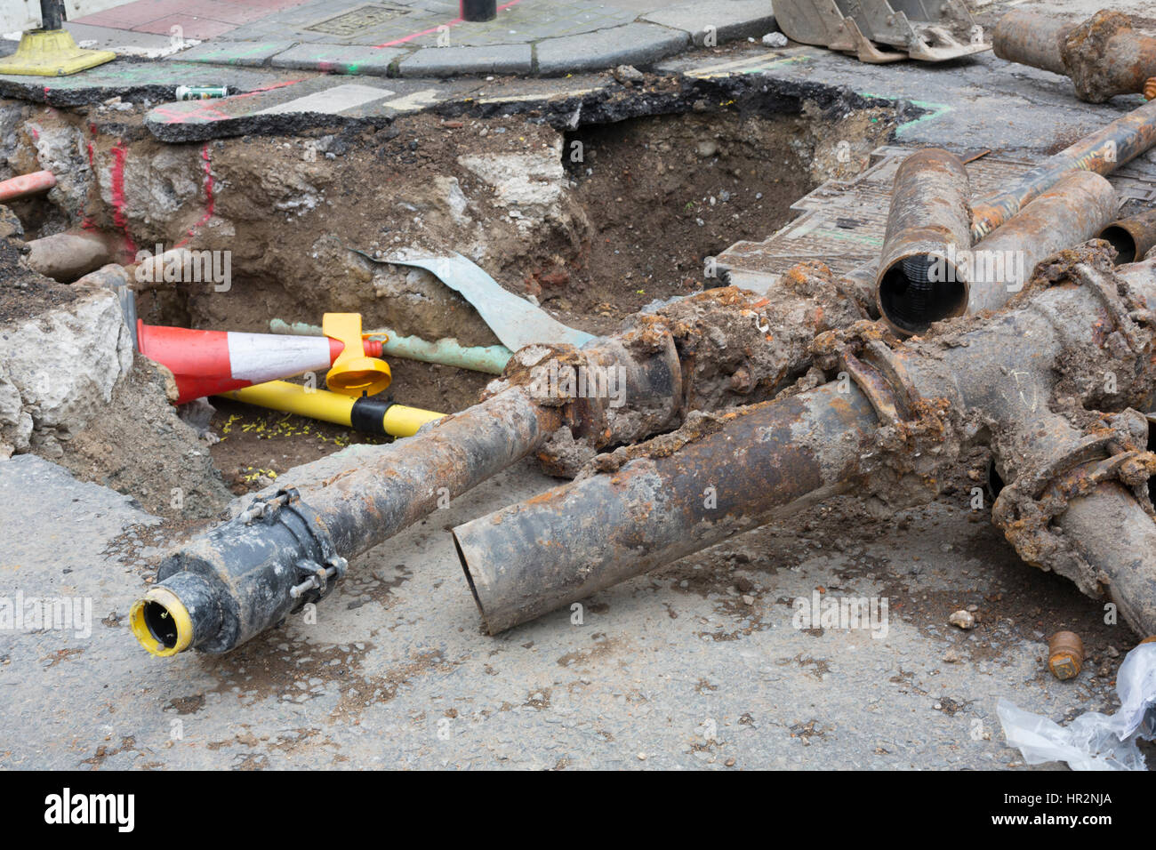 Road works and pipe replacement in central London cause traffic chaos , London England UK - Stock Image