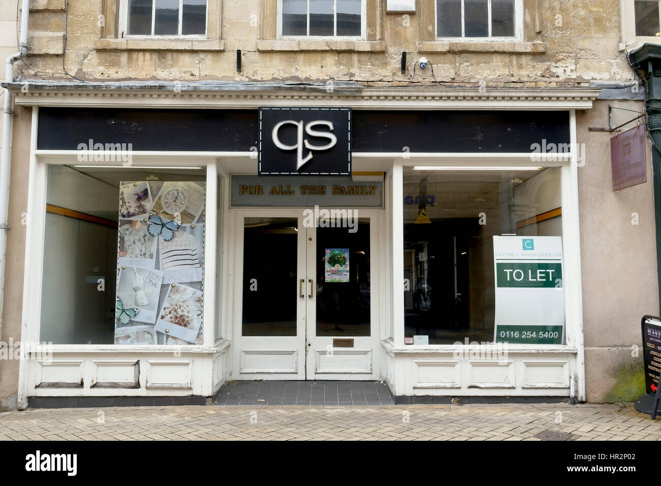 Shops closed down on Stamford  High Street England UK - Stock Image