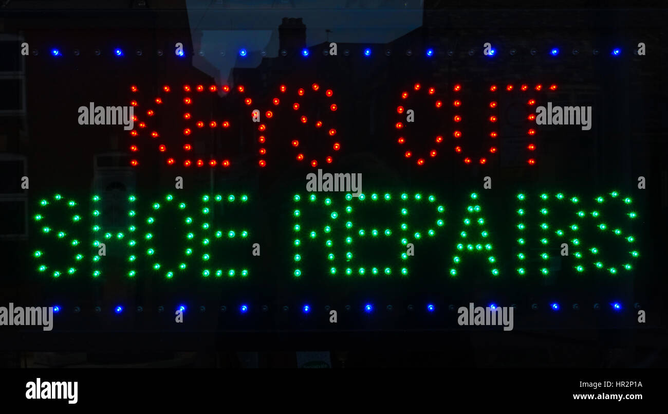 local shoe repairers neon sign - Stock Image