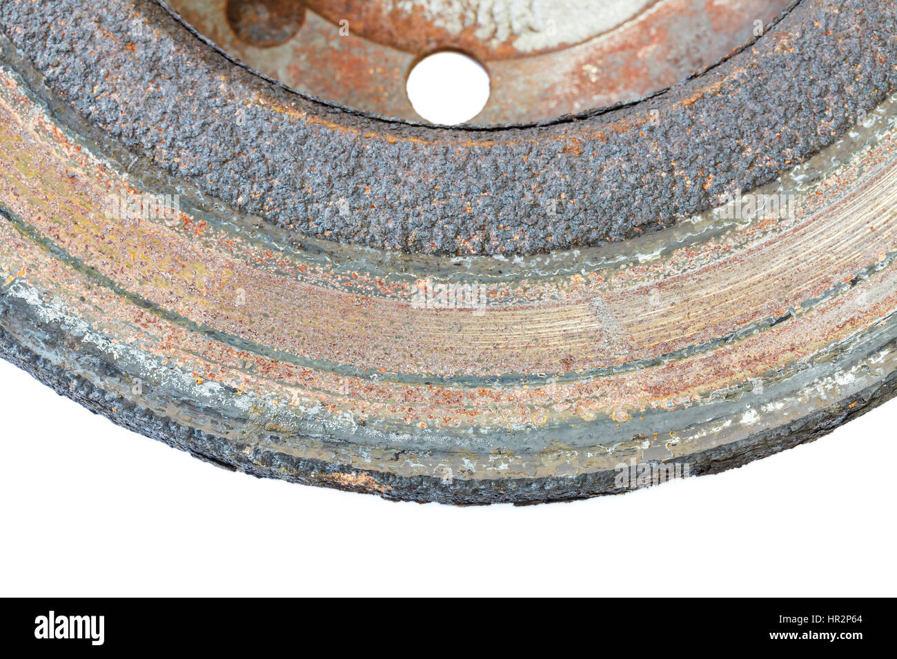 excessively worn rusty brake discs: too thin, covered with rust, with border and with scorched area - Stock Image