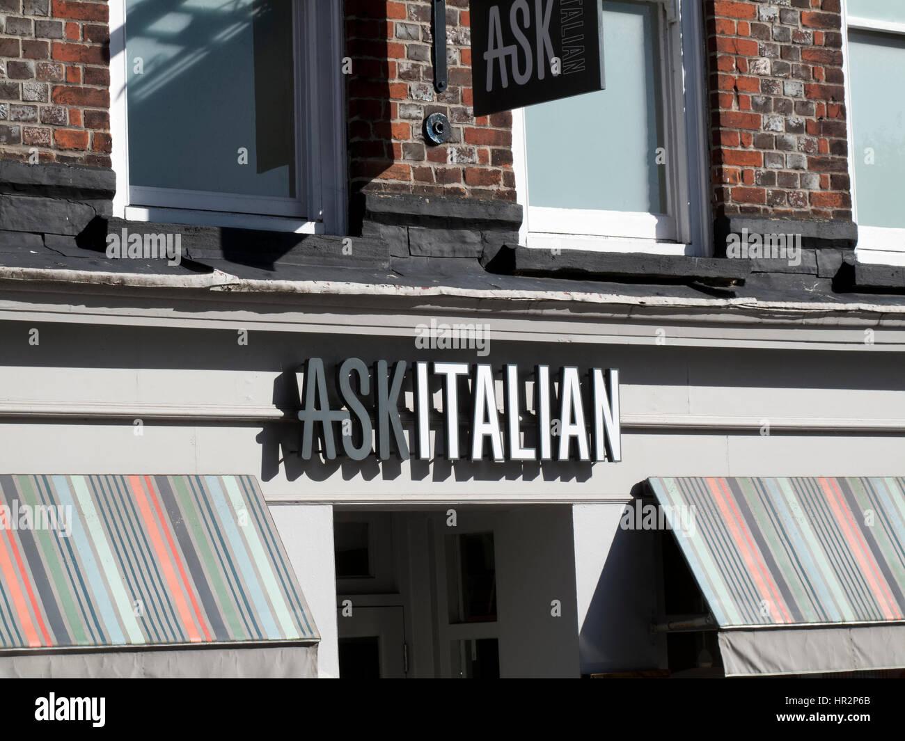 Ask Italian Restaurant Sign Over Premises Uk Chain Of Restaurants
