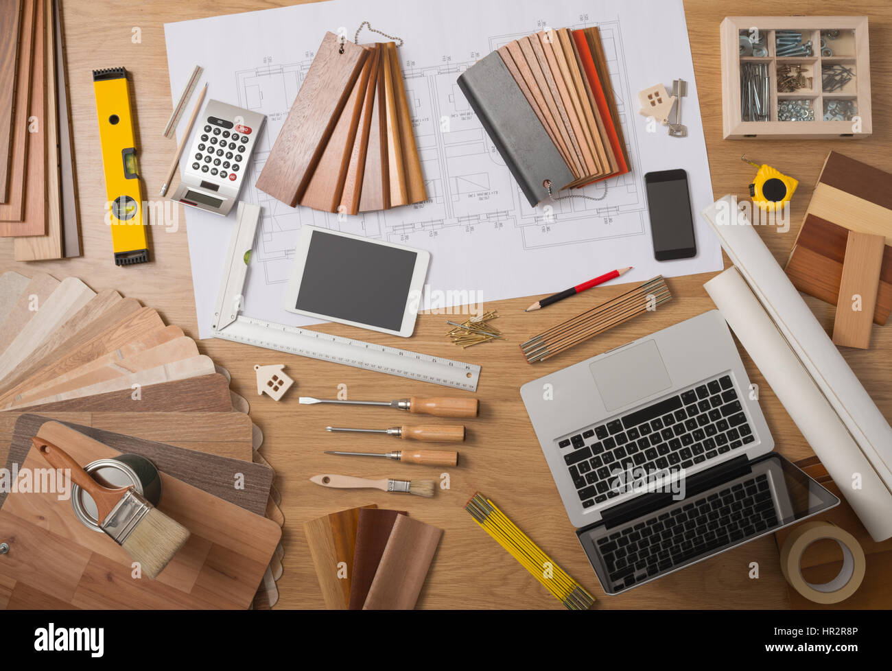 Architect And Home Interior Decorator Desktop With Tools Laptop