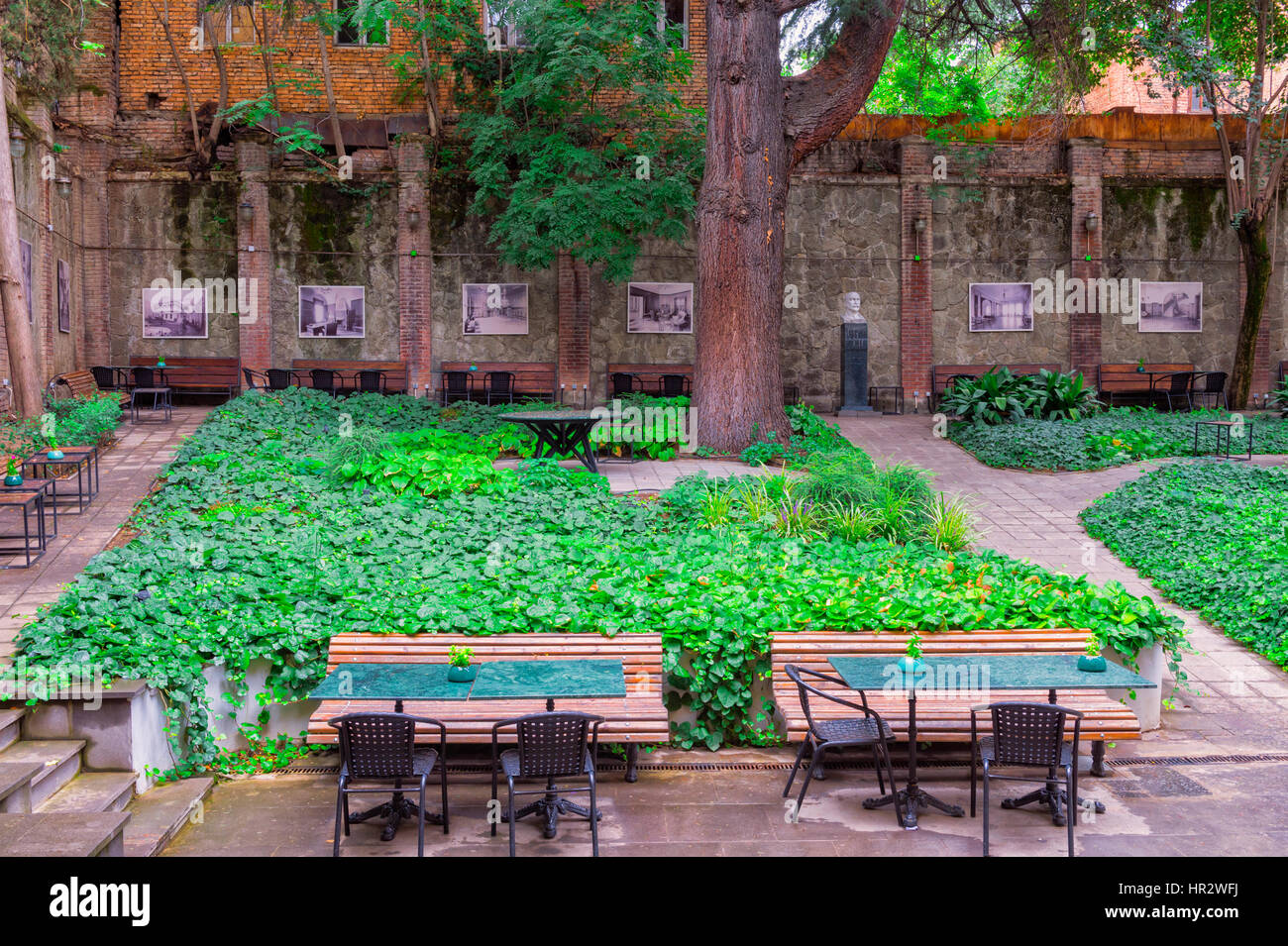 Writers' House of Georgia, Patio, Tbilisi, Georgia, Caucasus, Middle East, Asia - Stock Image