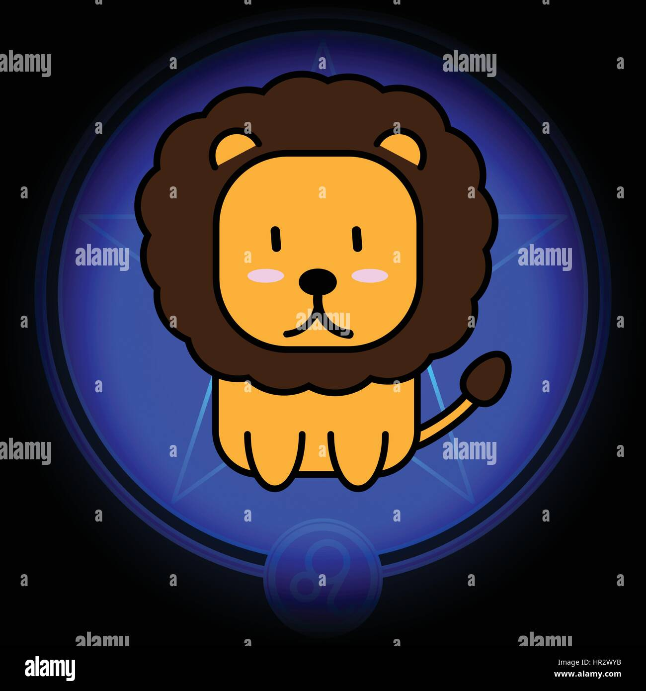 Cartoon sign zodiac of Leo vector icon on dark blue star background - Stock Vector