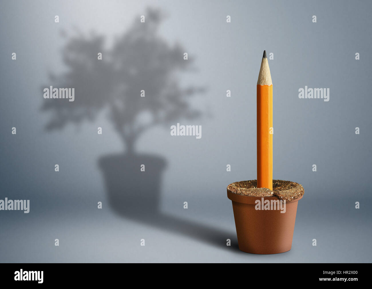 Idea creative concept, pencil growing from pot - Stock Image