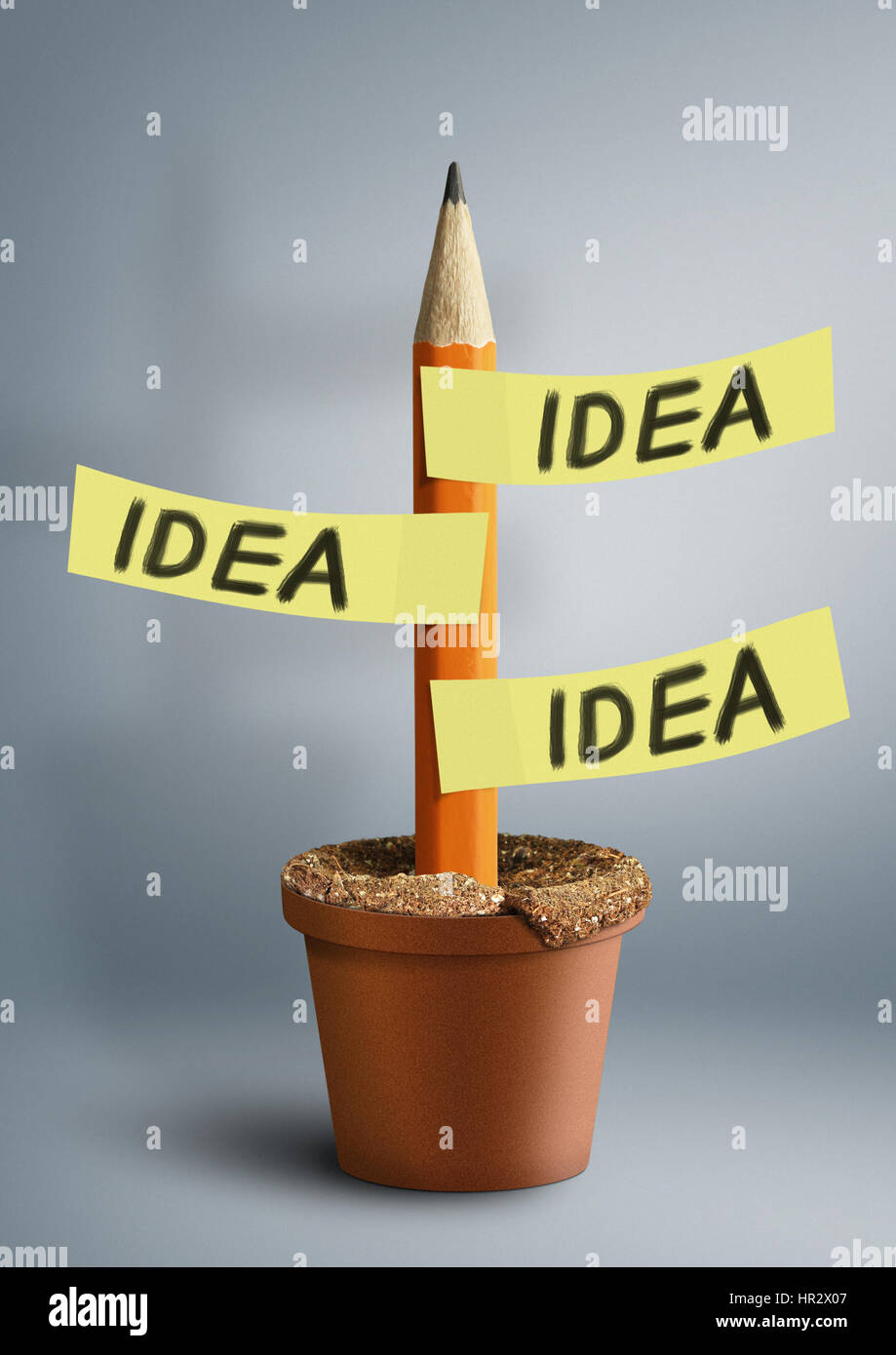 Idea creative concept, pencil with stickers - Stock Image