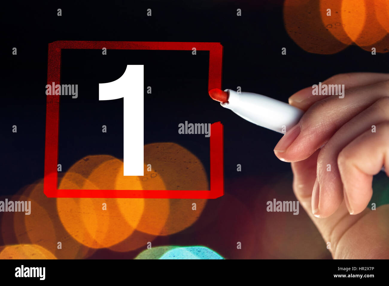 Select number one, business concept and businesswoman drawing rectangle around cipfer 1 as making a decision and - Stock Image