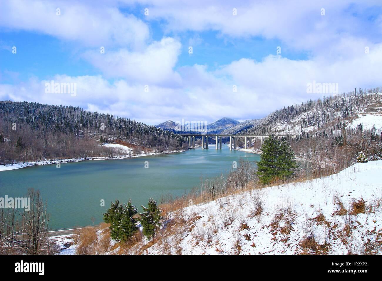 Bajer bridge motorway over lake Bajer in Fuzine, Gorski kotar, Croatia Stock Photo