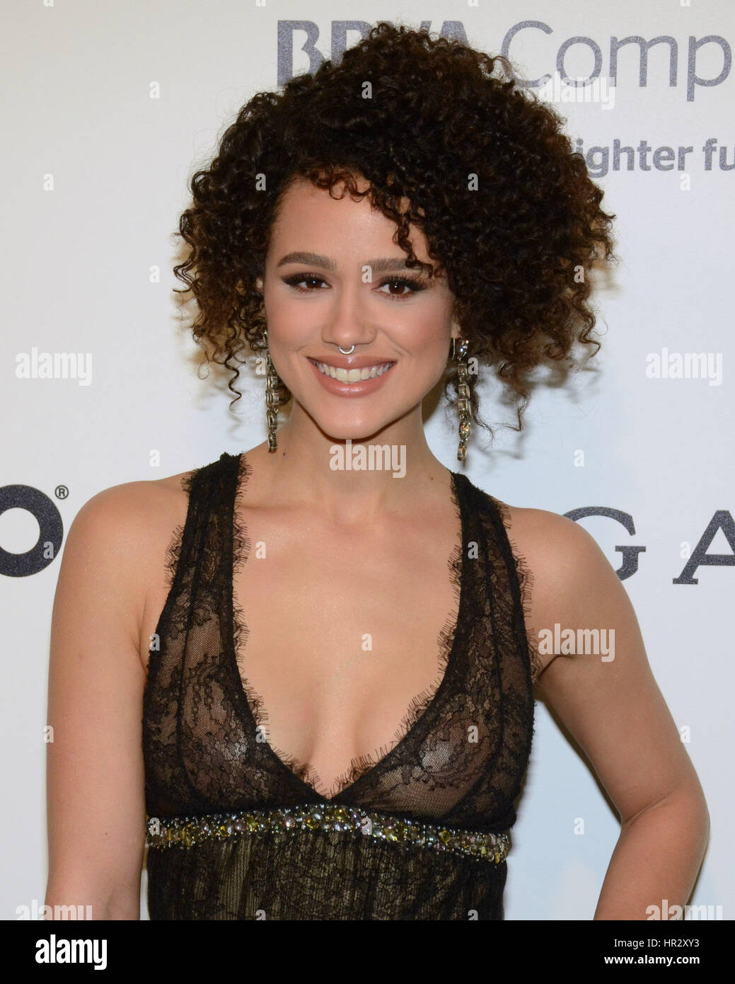 nathalie emmanuel arriving at the elton john oscar party in beverly