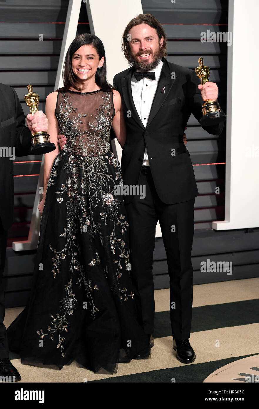Summer Phoenix and Casey Affleck with his Oscar for Actor in a Leading Role for Manchester by the Sea arriving at - Stock Image
