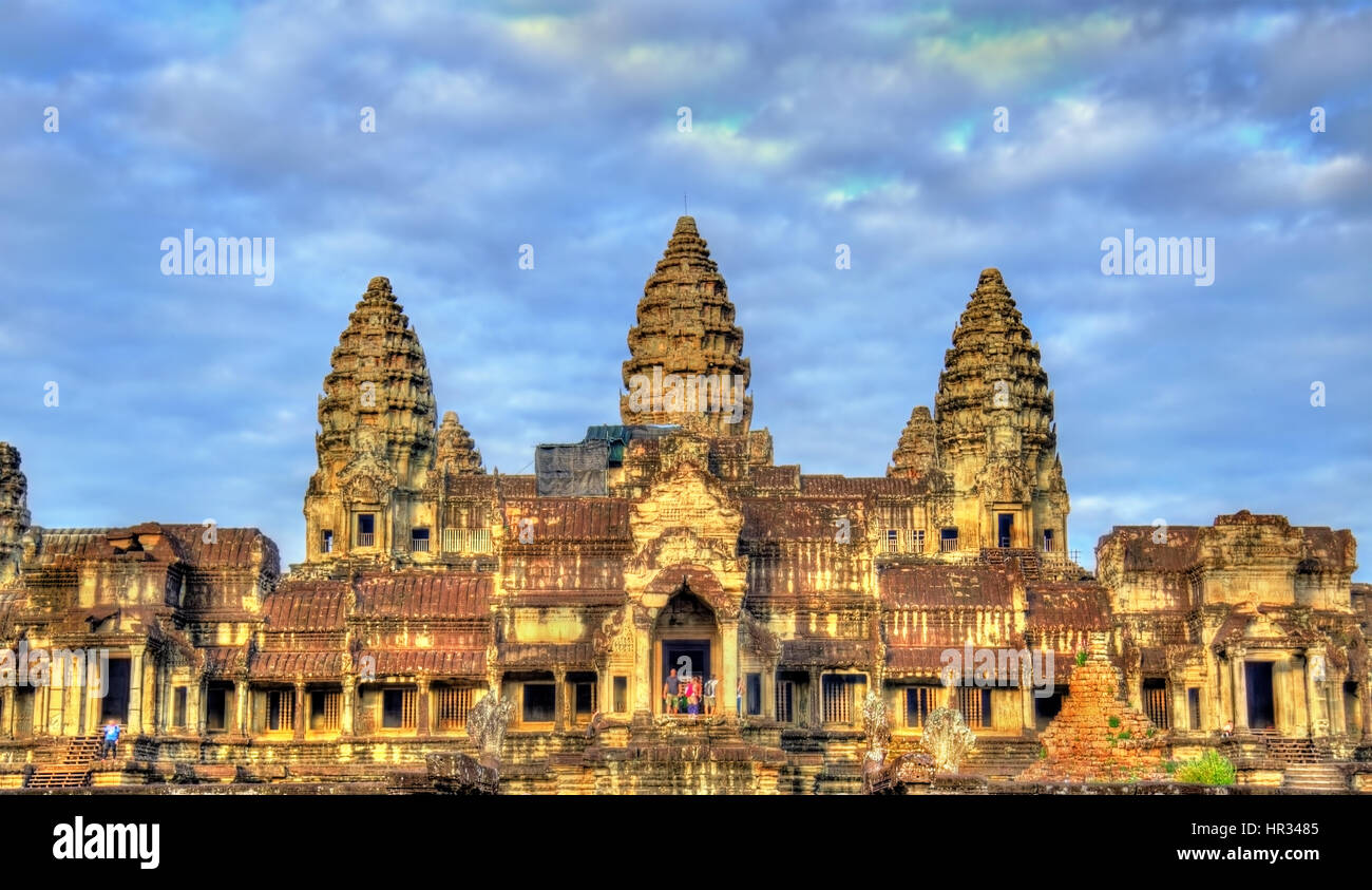 Entrance to Angkor Wat Temple - Siem reap, Cambodia - Stock Image