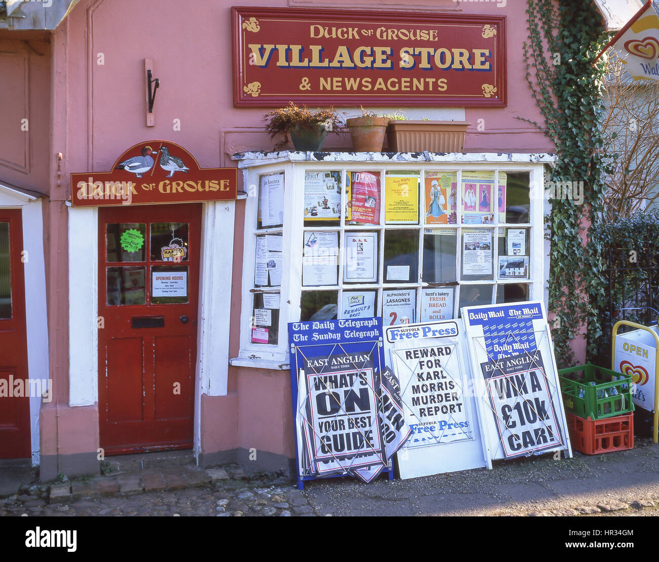 Duck of Grouse Village Store, Cavendish, Suffolk, England, United Kingdom - Stock Image