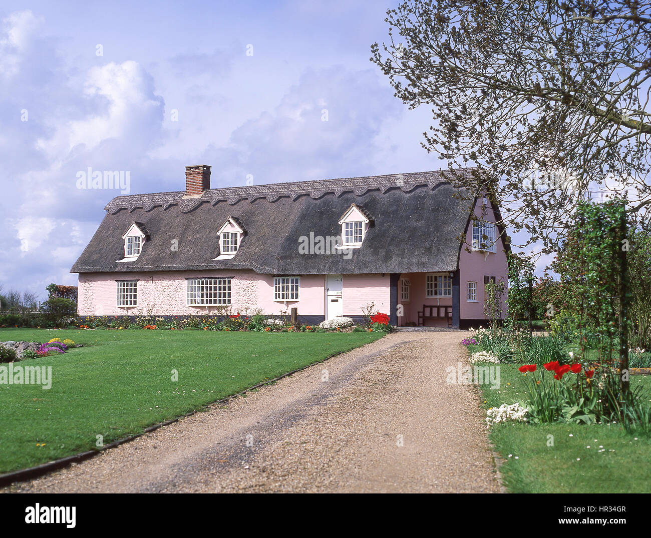 Thatched cottage, Ousten, Suffolk, England, United Kingdom - Stock Image