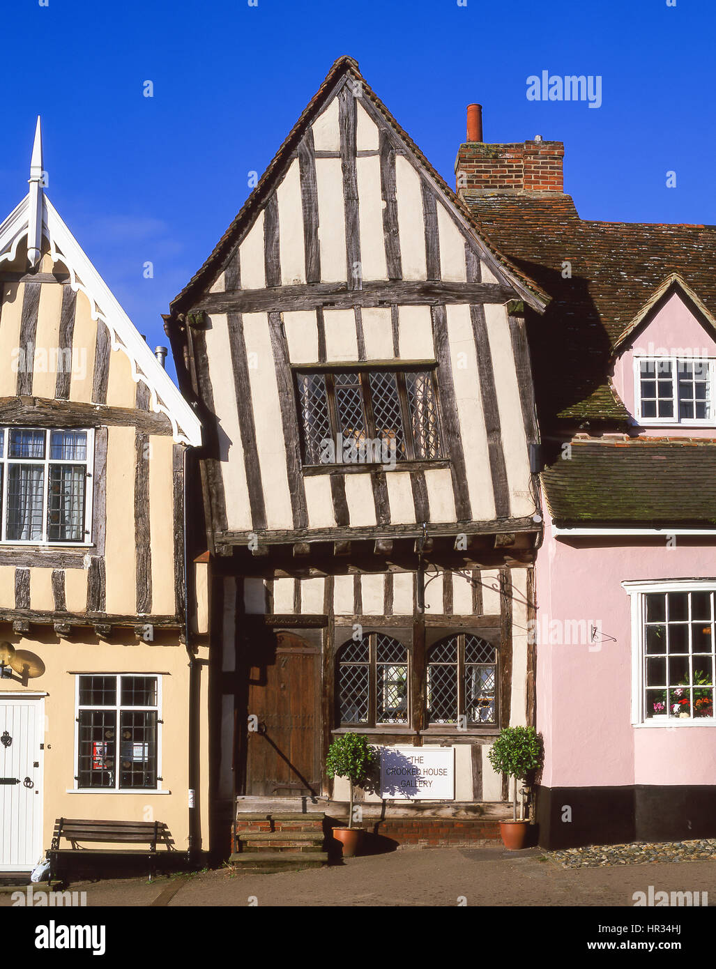 Half-timbered medieval cottages, High Street, Lavenham, Suffolk, England, United Kingdom - Stock Image