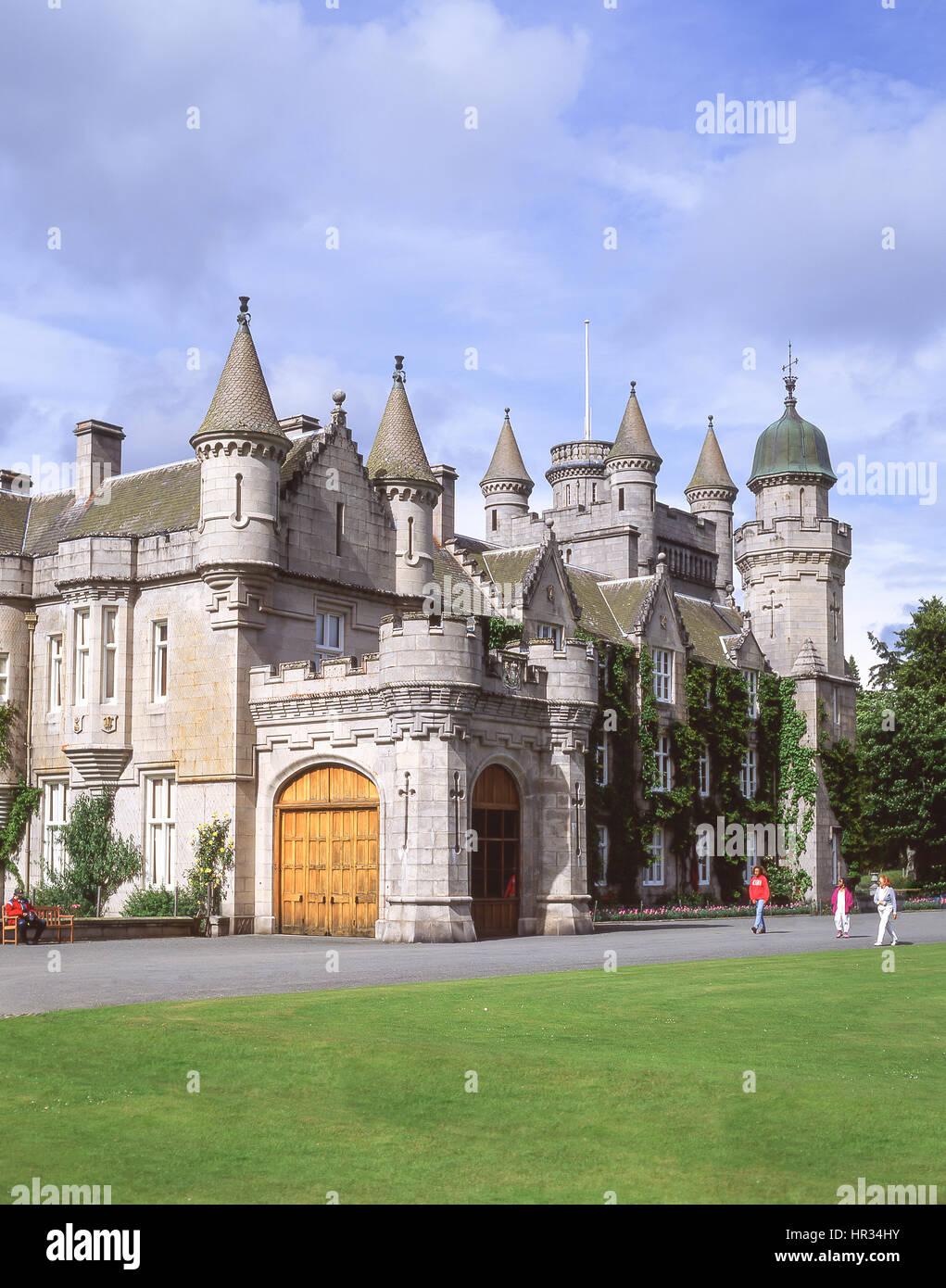 Balmoral Castle and gardens, Royal Deeside, Aberdeenshire, Scotland, United Kingdom - Stock Image