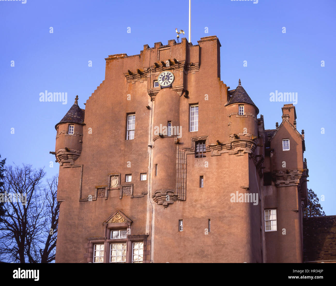 Castle Fraser at dusk, Kemnay, Aberdeenshire, Scotland, United Kingdom - Stock Image