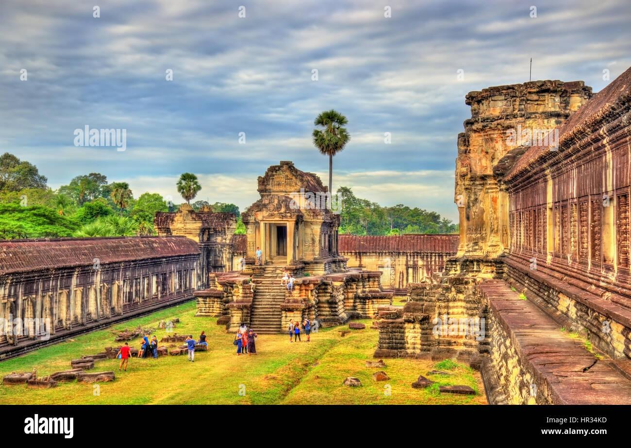 Thousand God Library at Angkor Wat, Cambodia - Stock Image
