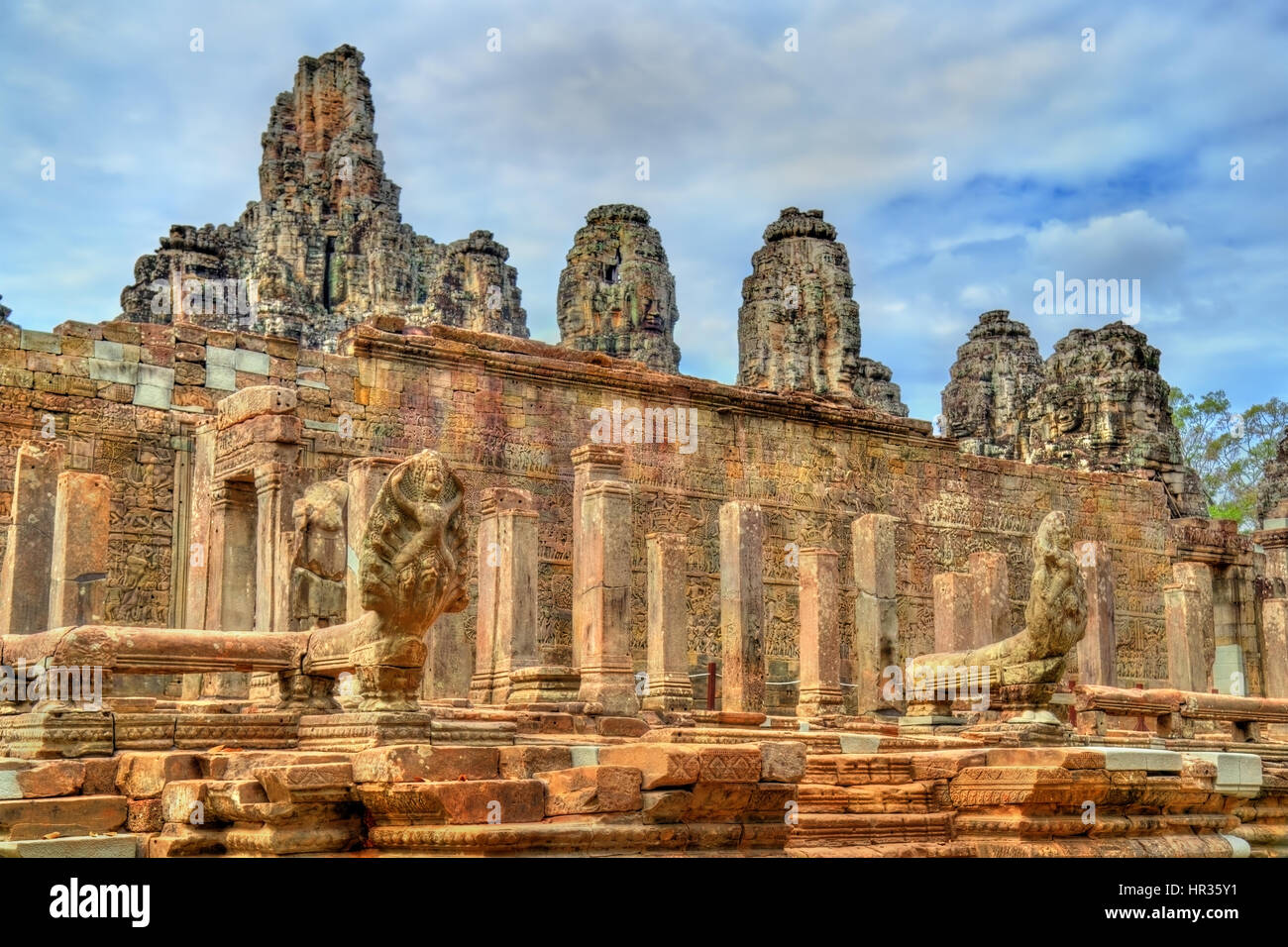 The Bayon, a Khmer temple at Angkor in Cambodia, Southeast Asia - Stock Image