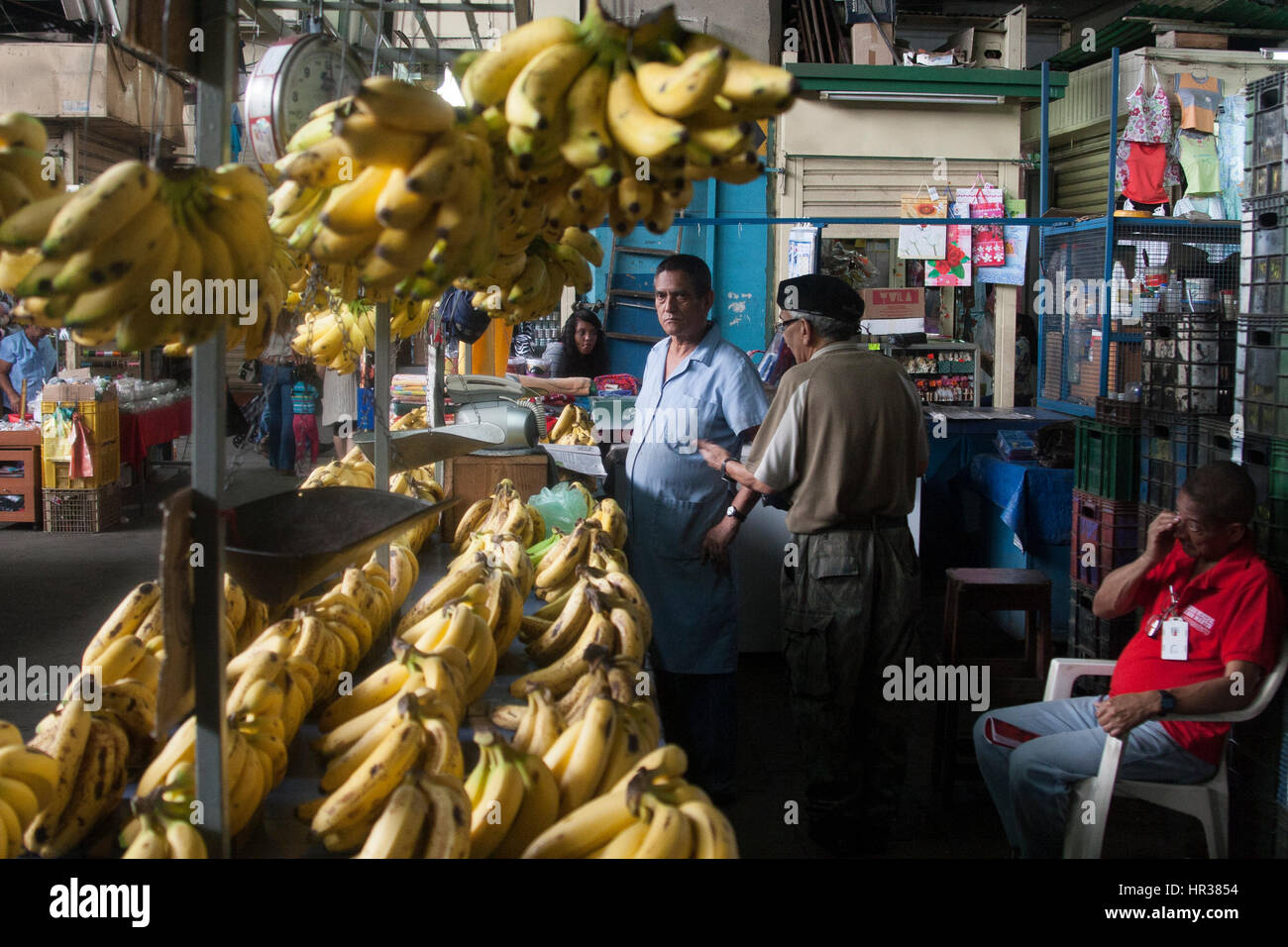 Caracas, Dtto Capital / Venezuela - 04-02-2012 : Man selling some bananas in a famous popular market Mercado de Stock Photo