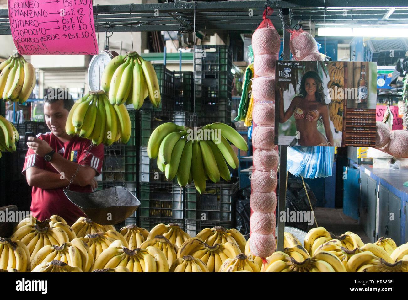 Caracas, Dtto Capital / Venezuela - 04-02-2012 : Man selling some bananas in a famous popular market Mercado de - Stock Image