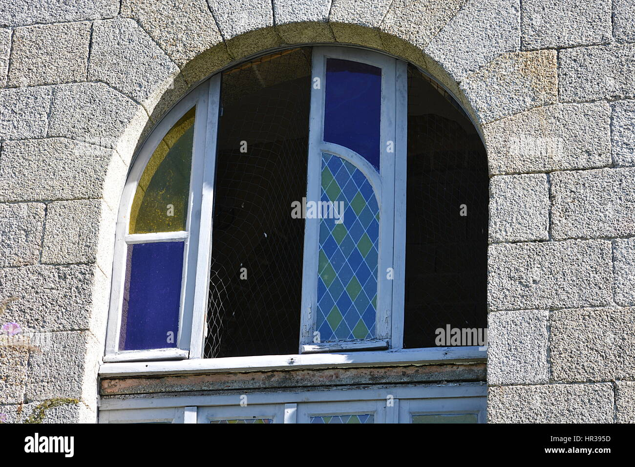 Window and broken tiles - Stock Image