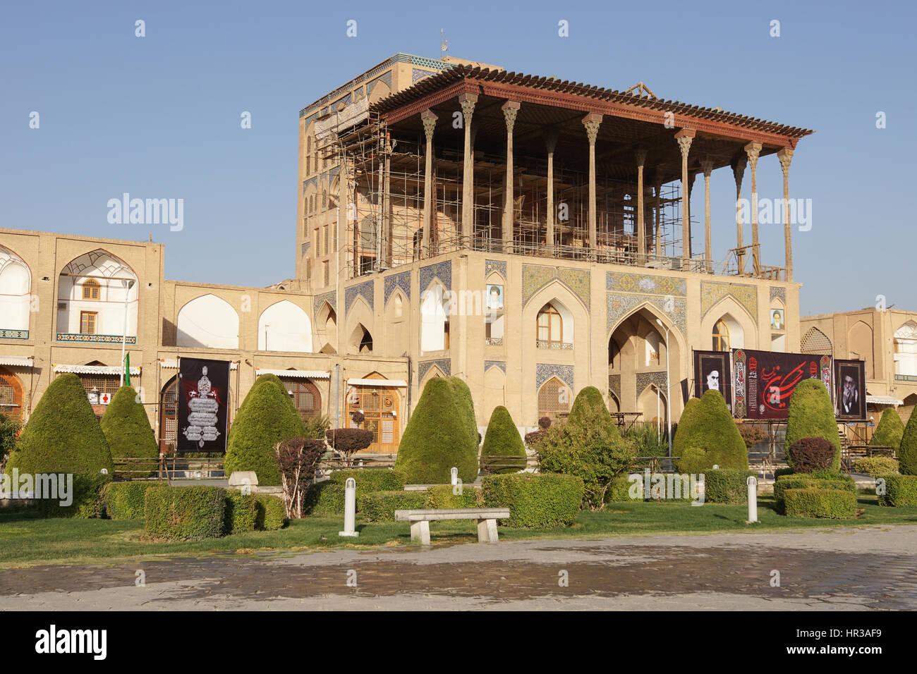 ISFAHAN, IRAN - OCTOBER 11, 2016: Ali Qapu Palace on Meydan-e Imam on October 11, 2016 in Isfahan, Iran. Stock Photo