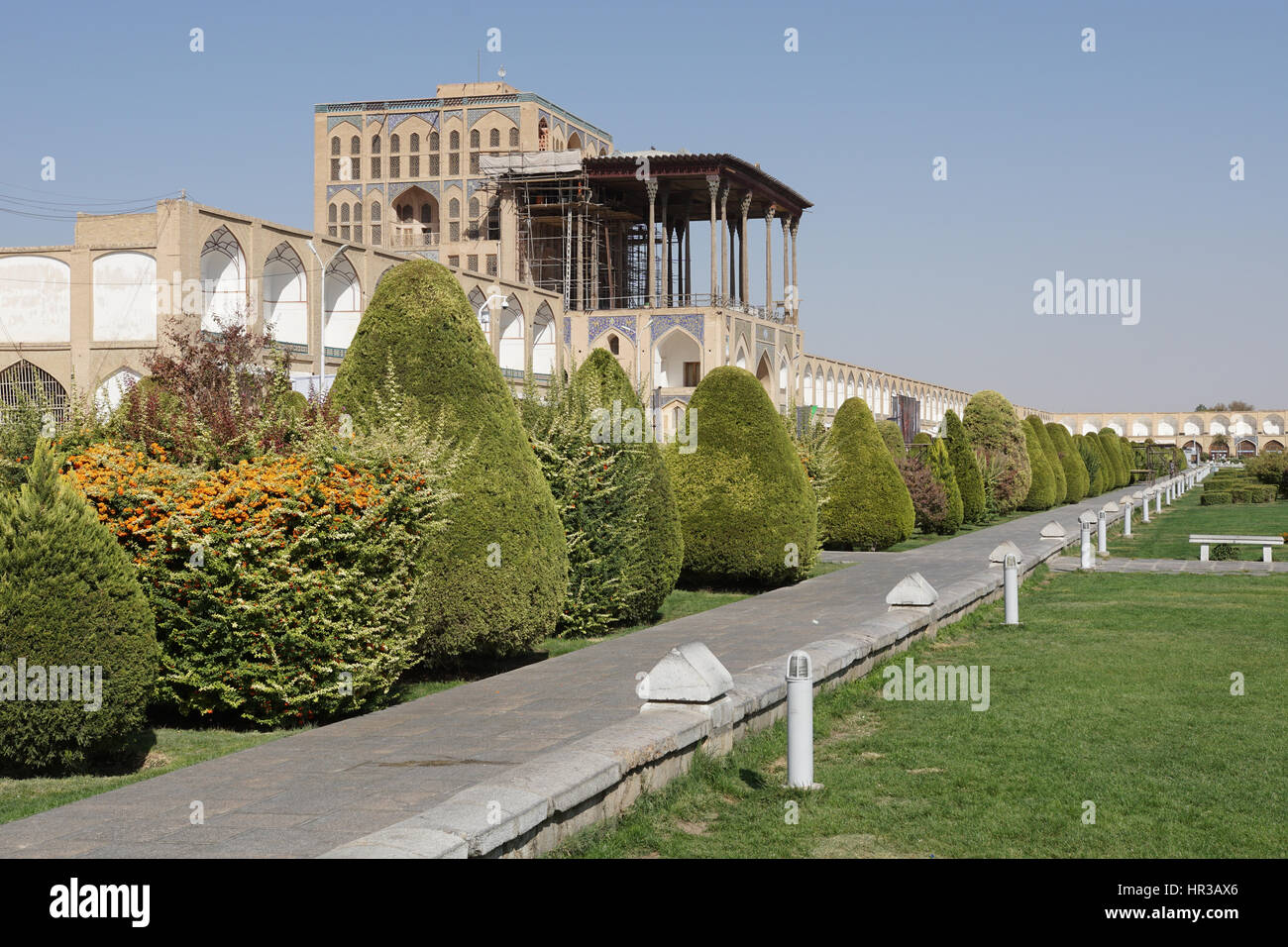 ISFAHAN, IRAN - OCTOBER 11, 2016: Ali Qapu Palace on Meydan-e Imam on October 11, 2016 in Isfahan, Iran. Stock Photo