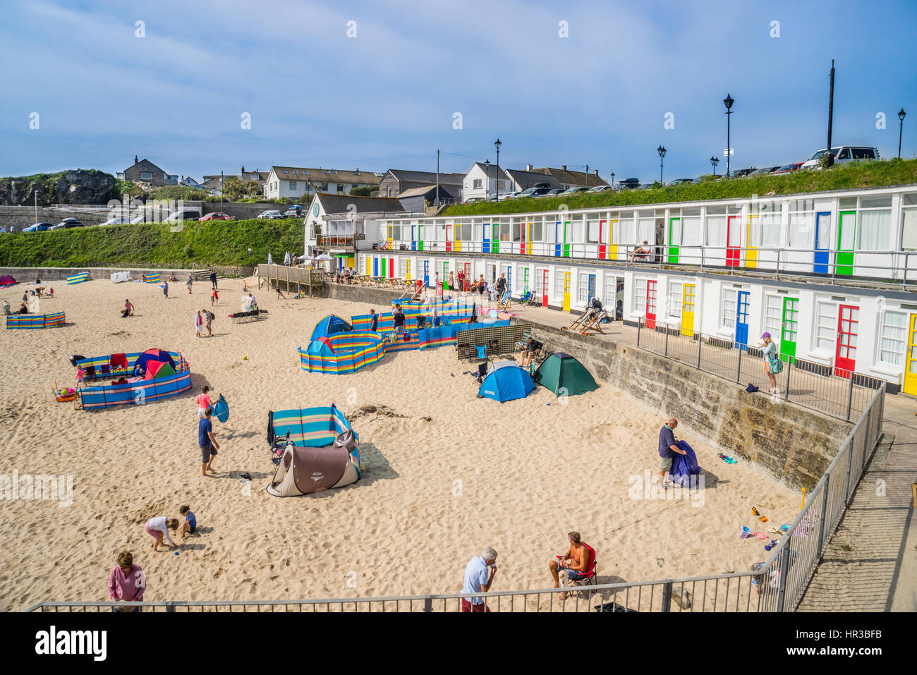 United Kingdom, South West England, Cornwall, view of Porthgwidden Beach, St Ives - Stock Image