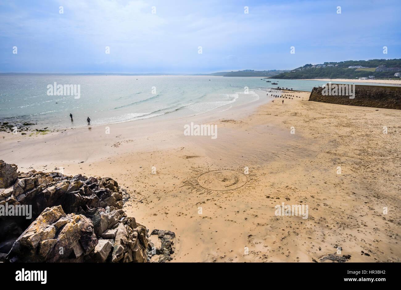 United Kingdom, Cornwall, view of Bamaluz Beach, St Ives - Stock Image