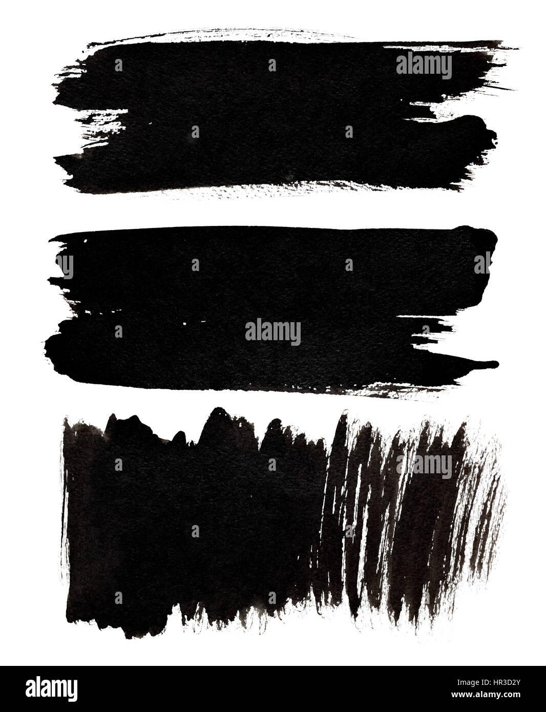 Set of black brush strokes isolated over the white background - Stock Image