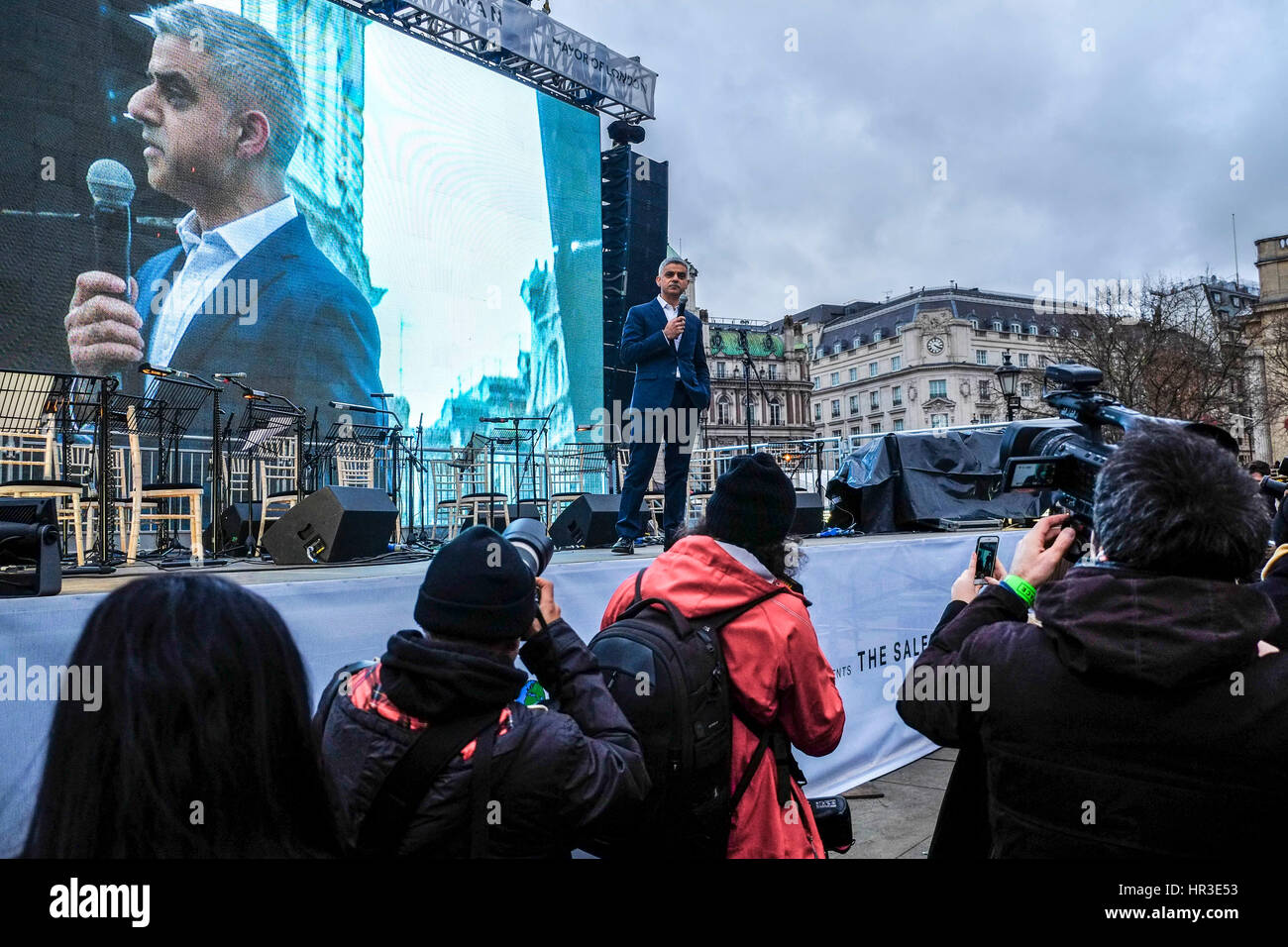 London, UK. 26th Feb, 2017. Mayor of London Sadiq Khan whose office is hosting the event addresses the crowd at - Stock Image