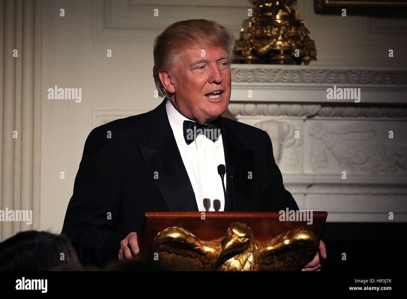 Washington DC, USA. 26th February 2017. United States President Donald Trump delivers brief remarks before a toast - Stock Image