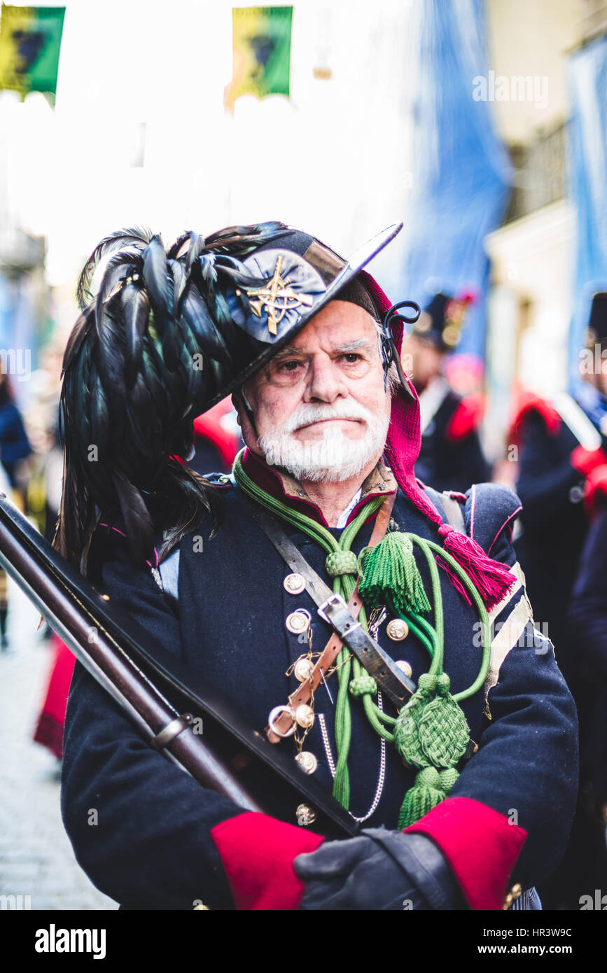 Ivrea, Italy. 26th Feb, 2017. February 26, 2017: The Historical Carnival of Ivrea and the Orange Battle Photo: Cronos/Alessandro Stock Photo
