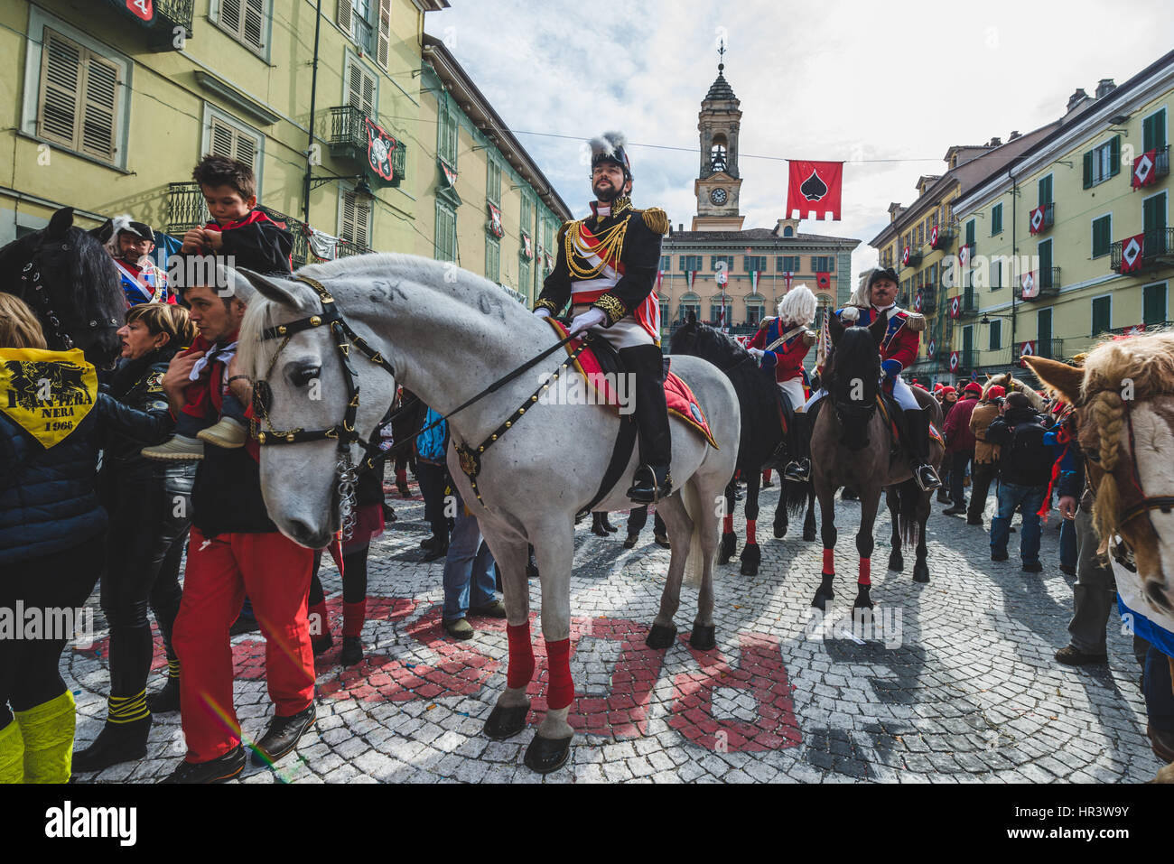 Ivrea, Italy. 26th Feb, 2017. February 26, 2017: The Historical Carnival of Ivrea and the Orange Battle Photo: Cronos/Alessandro Stock Photo