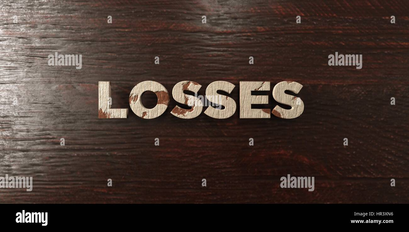 Losses - grungy wooden headline on Maple  - 3D rendered royalty free stock image. This image can be used for an - Stock Image