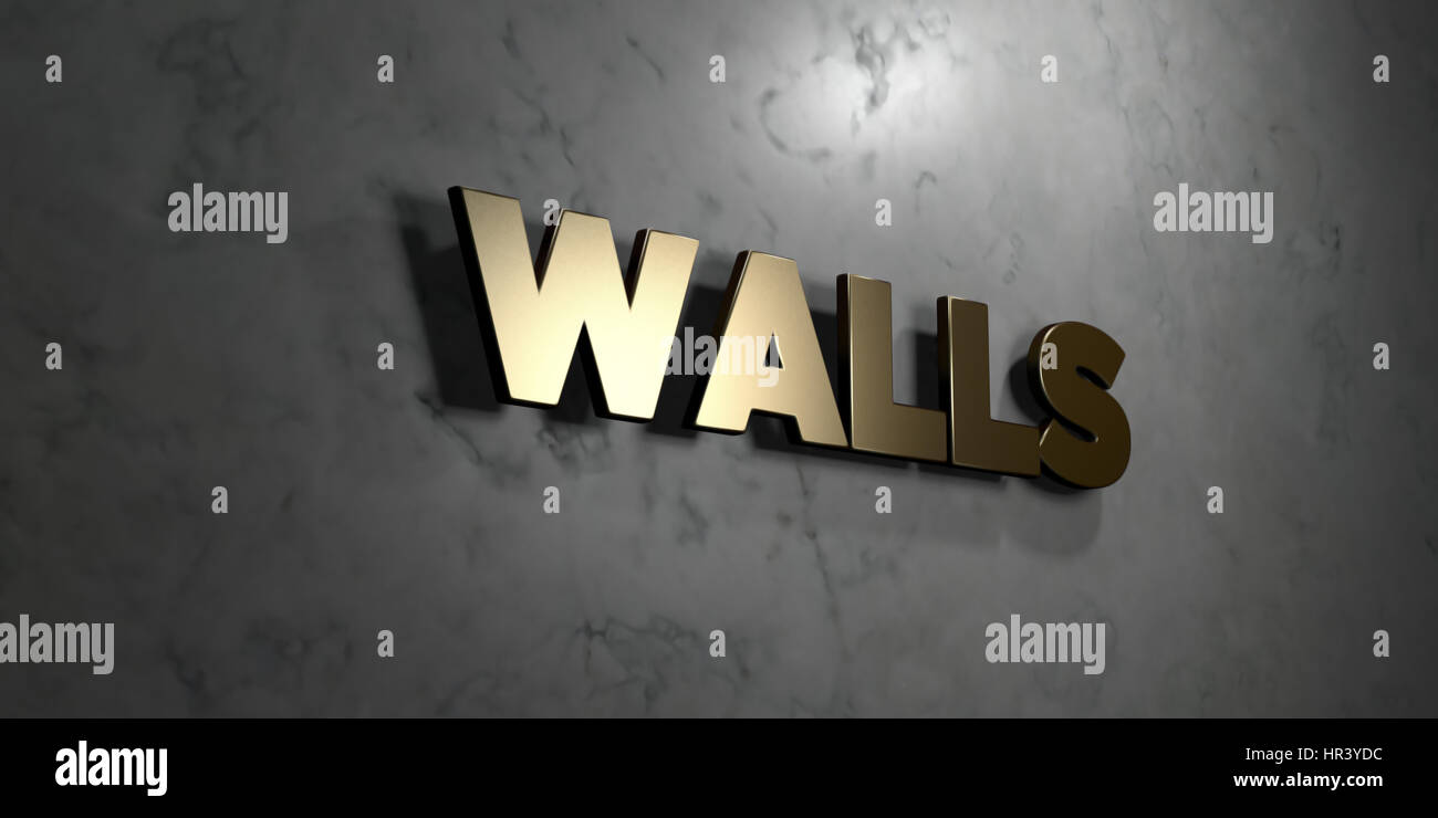Walls Gold Sign Mounted On Glossy Marble Wall 3d Rendered Stock Photo Alamy
