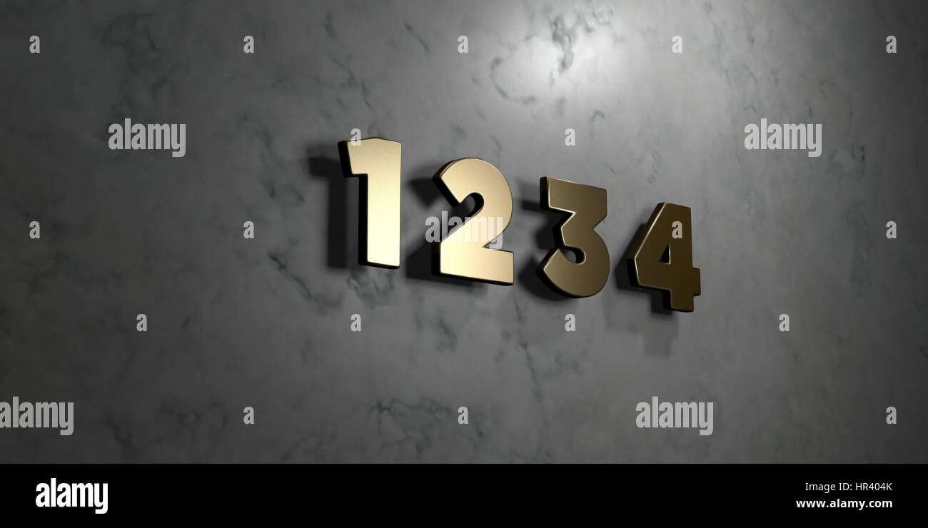1 2 3 4 - Gold sign mounted on glossy marble wall  - 3D rendered royalty free stock illustration. This image can - Stock Image