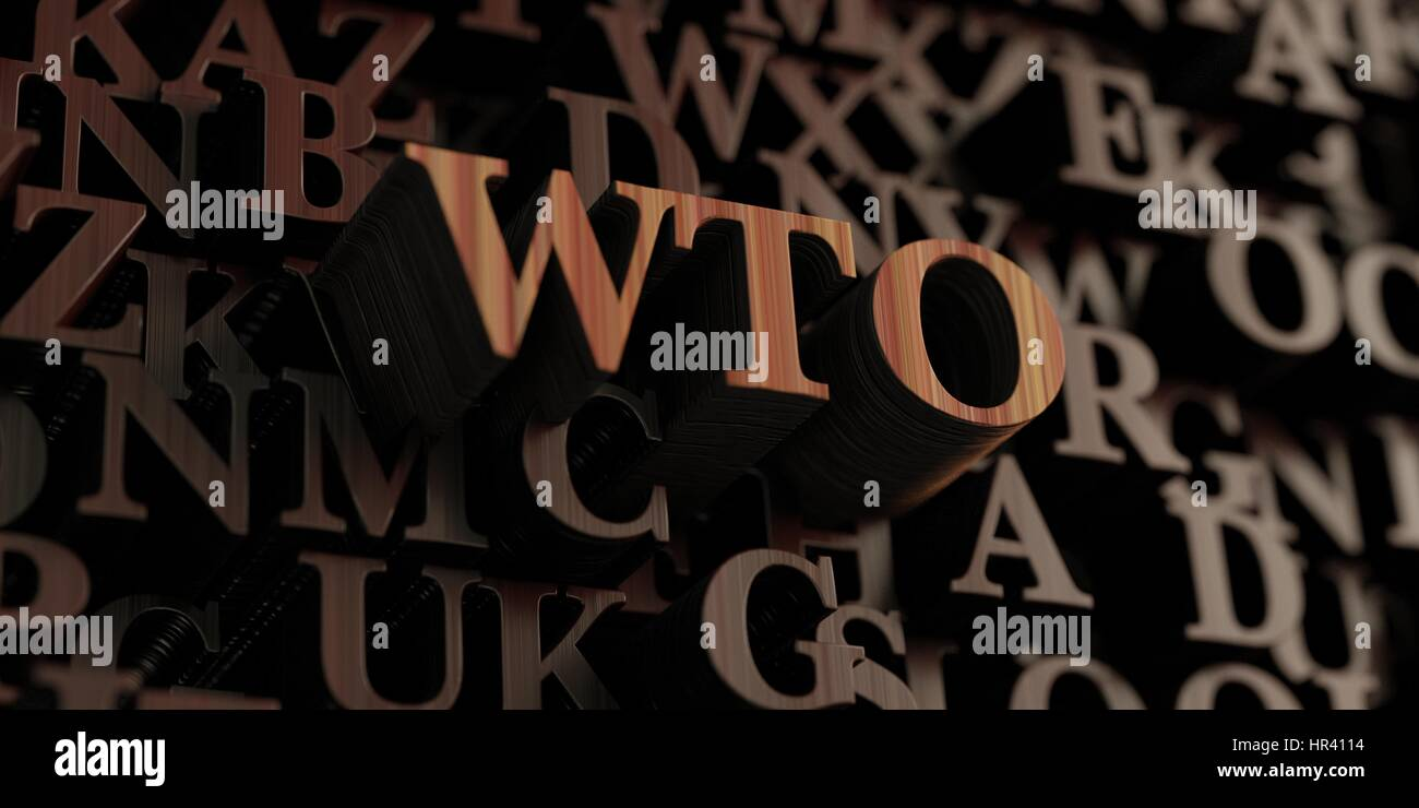 Wto - Wooden 3D rendered letters/message.  Can be used for an online banner ad or a print postcard. Stock Photo