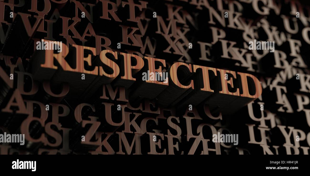 Respected - Wooden 3D rendered letters/message.  Can be used for an online banner ad or a print postcard. Stock Photo