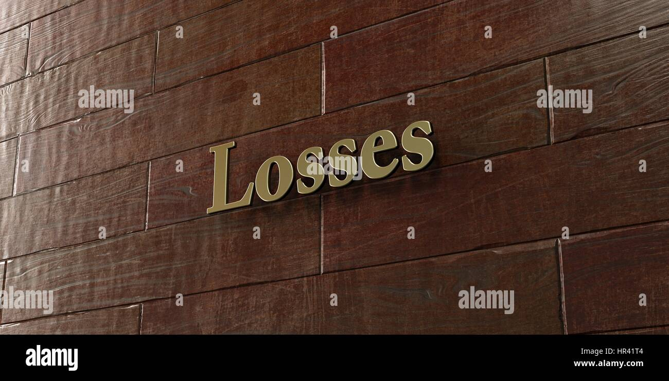 Losses - Bronze plaque mounted on maple wood wall  - 3D rendered royalty free stock picture. This image can be used - Stock Image